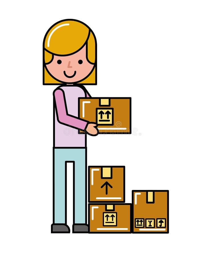 Ходить по магазинам картонных коробок девушки клиента онлайн логистический иллюстрация штока