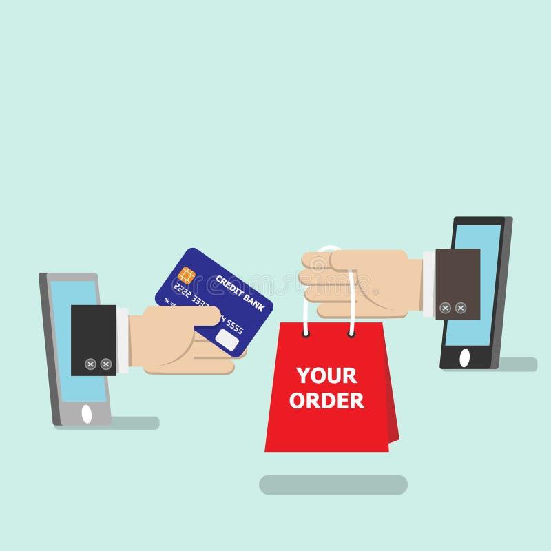 Ходить по магазинам на онлайн концепции магазина магазина кредитная карточка в руке хлопает вверх от телефона бесплатная иллюстрация
