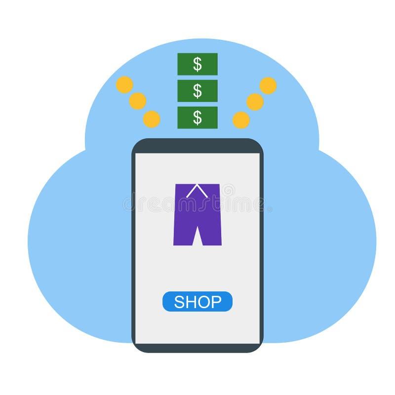 Ходить по магазинам онлайн на иллюстрации мобильного телефона - векторе бесплатная иллюстрация