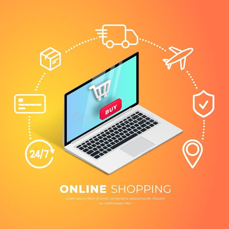 Ходить по магазинам онлайн с линией значками бесплатная иллюстрация
