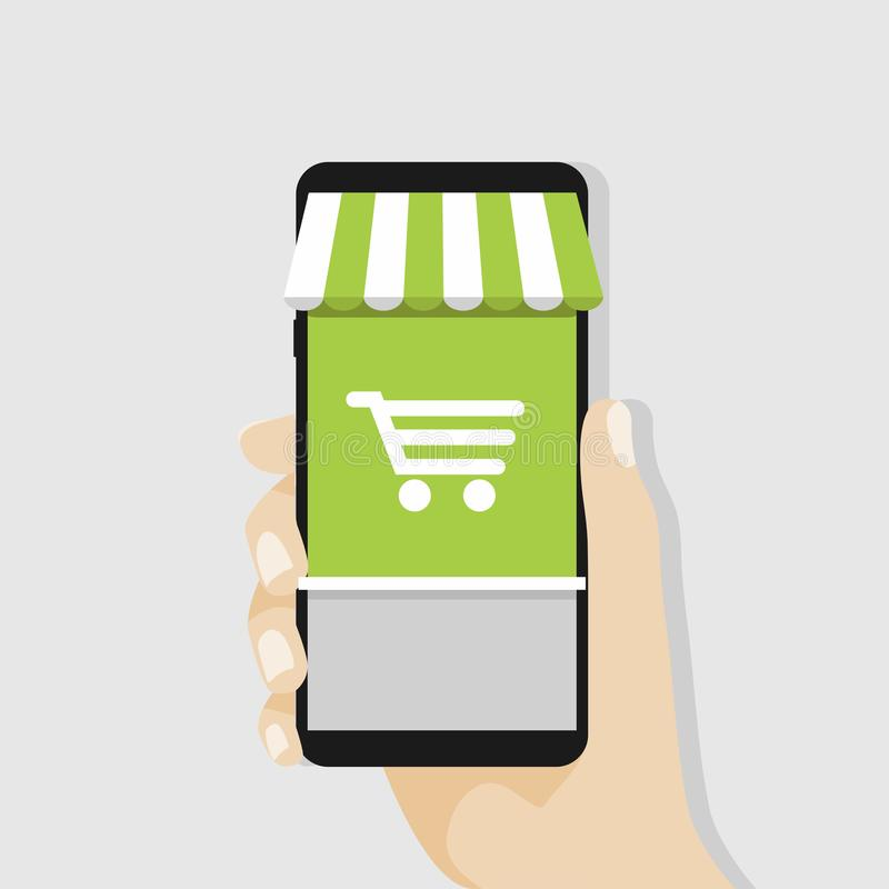 Ходить по магазинам онлайн с чернью, концепция дела бесплатная иллюстрация