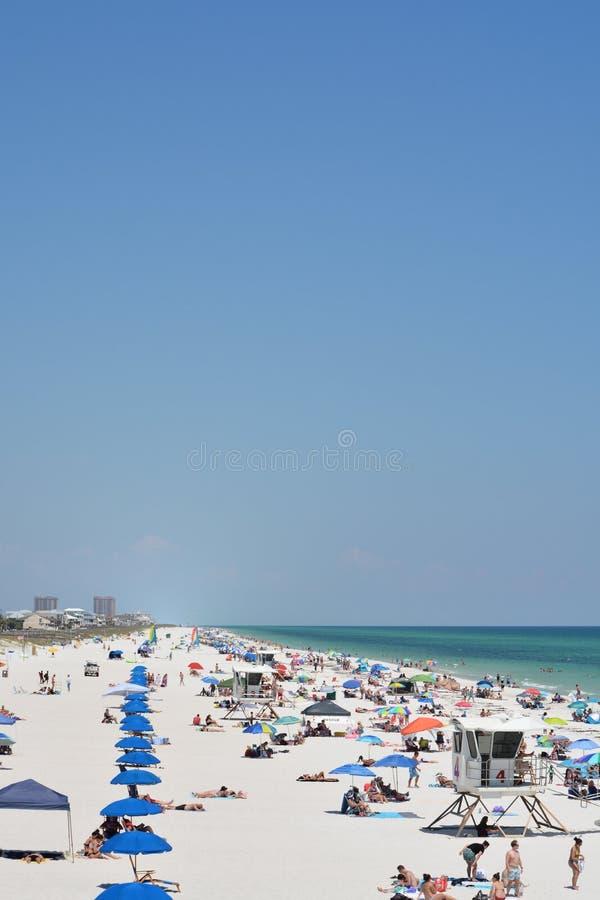 Ходоки пляжа на пляже Pensacola в Escambia County, Флориде на Мексиканском заливе, США стоковая фотография