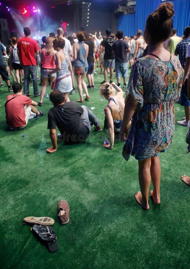 Ходоки фестиваля наслаждаясь вертикалью музыкального фестиваля стоковая фотография rf