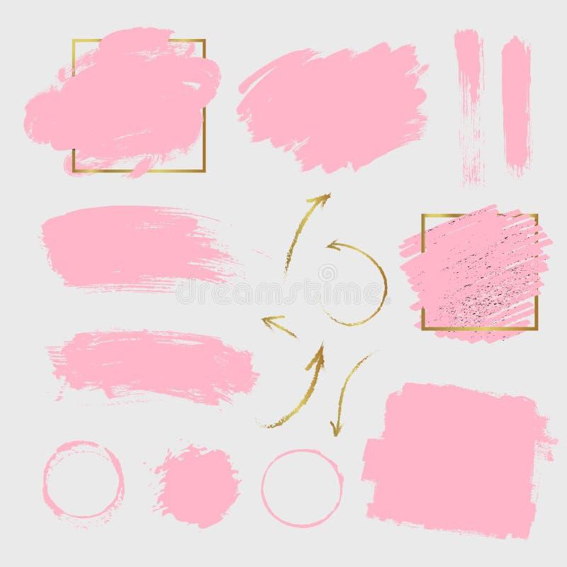 Ходы краски пинка вектора и золотые стрелки стоковая фотография