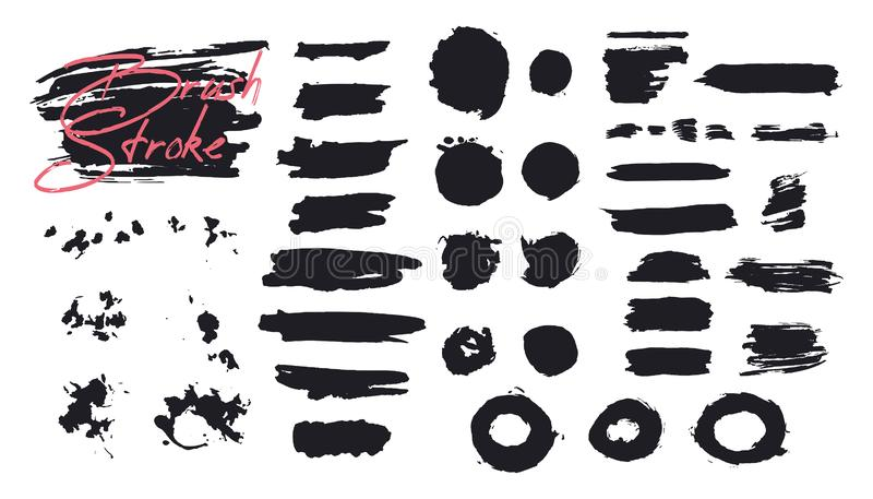 Ходы щетки вектора, линии, брызгают Художественные элементы бесплатная иллюстрация