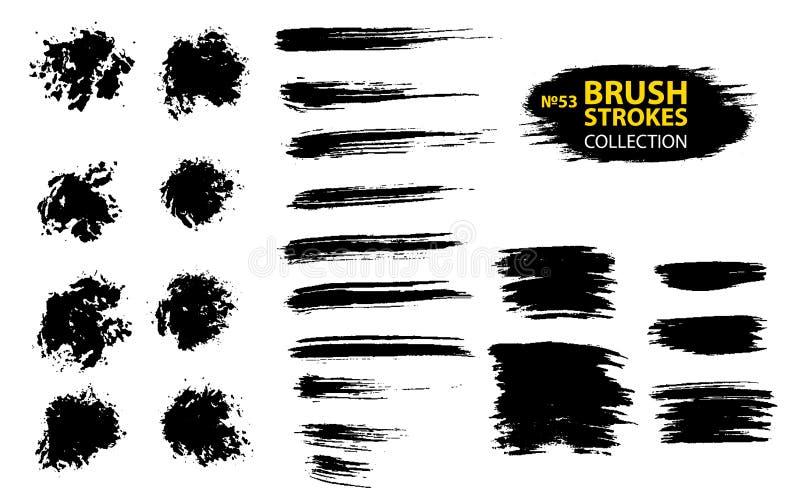 Ходы щетки grunge большого комплекта различные Пакостные художнические элементы дизайна изолированные на белой предпосылке бесплатная иллюстрация