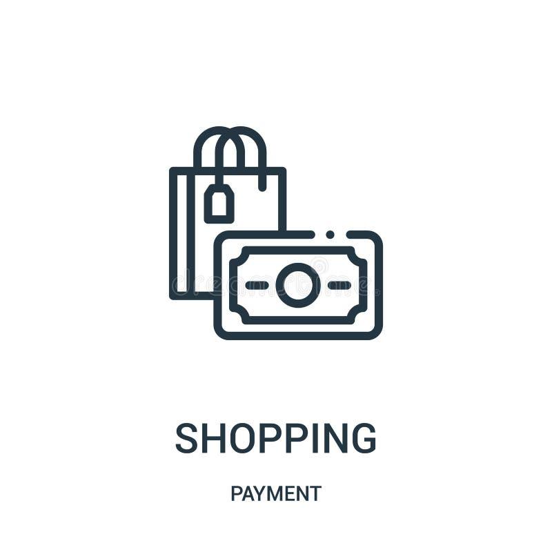 ходя по магазинам вектор значка от собрания оплаты Тонкая линия ходя по магазинам иллюстрация вектора значка плана бесплатная иллюстрация