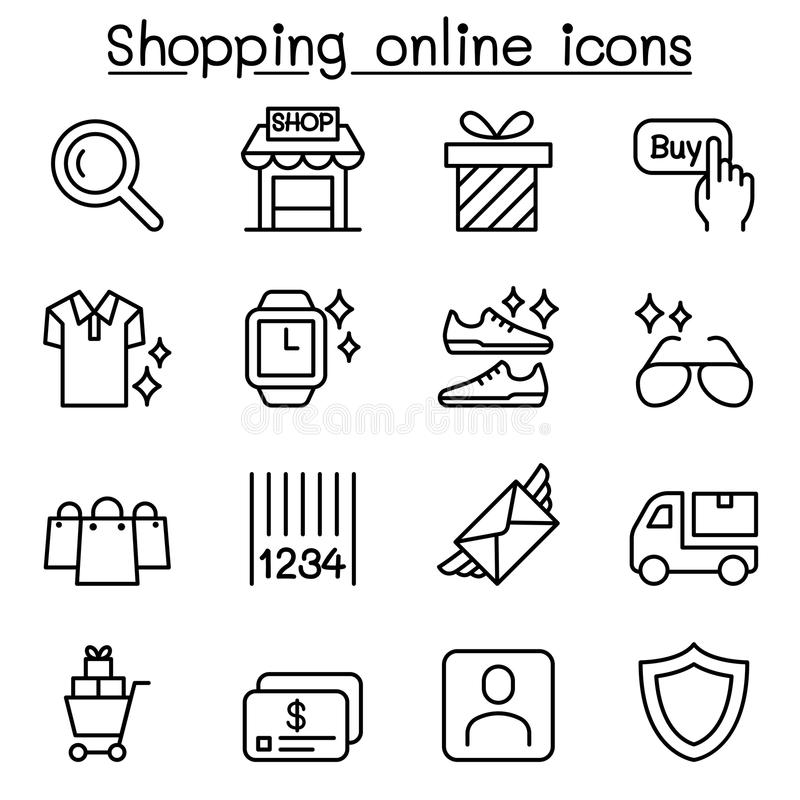 Ходя по магазинам онлайн значок установил в тонкую линию стиль иллюстрация вектора