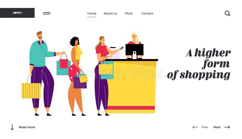 Ходя по магазинам очередь в супермаркете, характерах клиента с товарами в сумках стоит на столе кассира оплачивая для приобретени бесплатная иллюстрация