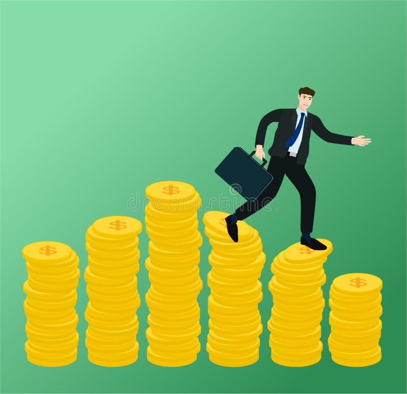 Ход бизнесмена на низкой диаграмме денег выгоды иллюстрация штока