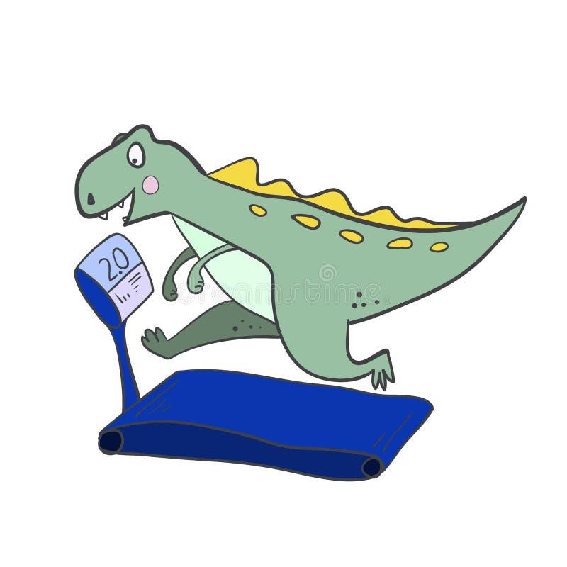 Ход динозавра на третбане милый динозавр делая спорт иллюстрация вектора