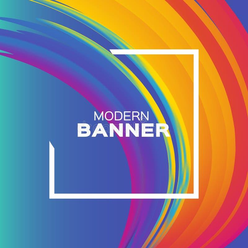 Ход кисти Luquid Красочная краска кривой на сини Элемент для рогульки, представление, реклама, поздравительная открытка иллюстрация штока