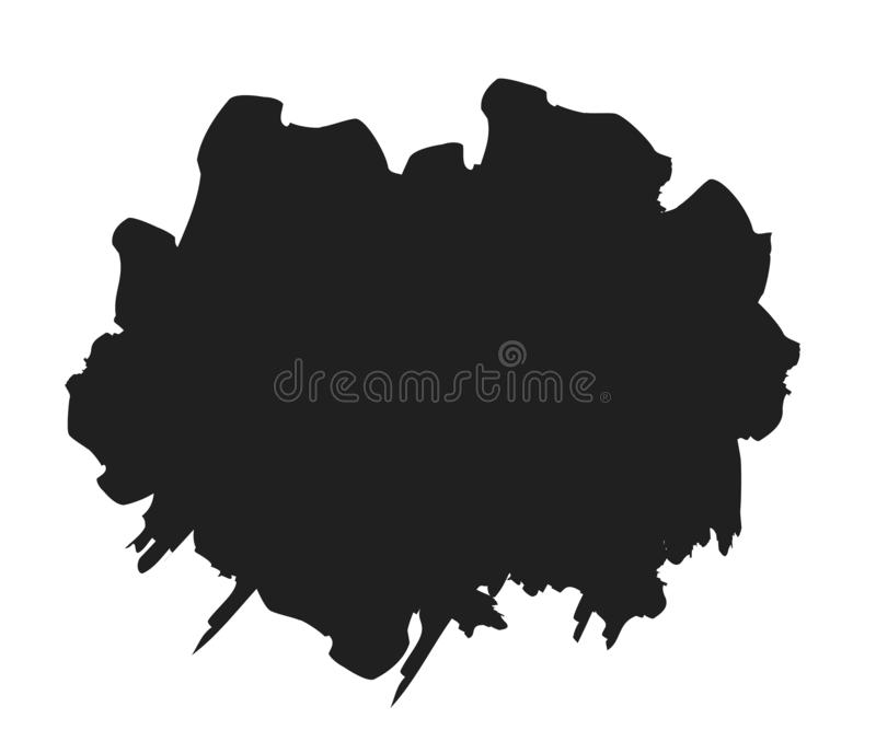 Ход краски щетки Чернила пятна Grunge в рамке изолированной на белой предпосылке Черный элемент выплеска Графическая текстура для иллюстрация вектора