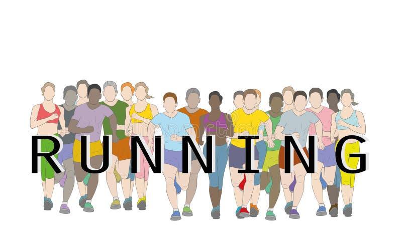 Ход марафонцов, группы людей, люди и женщины бежать с дизайном хода текста используя grunge чистят графический вектор щеткой иллюстрация штока
