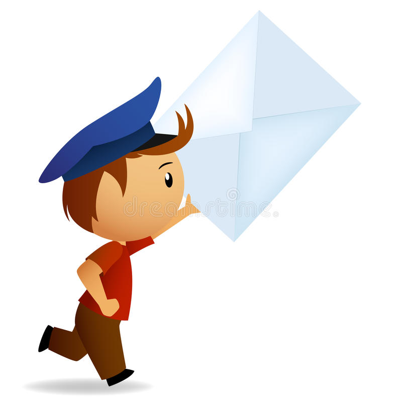 ход почтальона письма руки шаржа иллюстрация штока