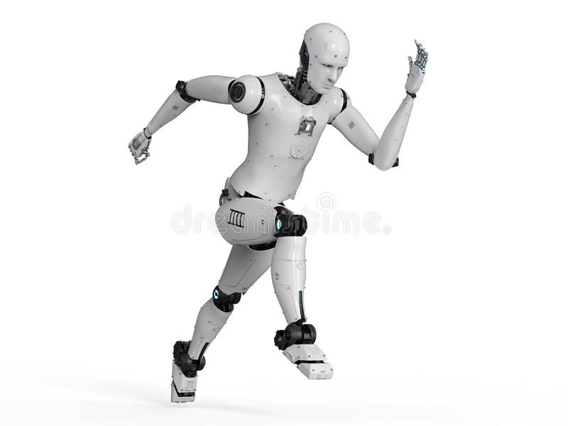 Ход робота гуманоида иллюстрация вектора