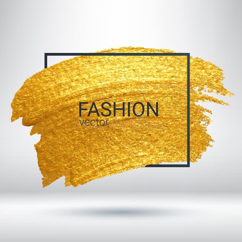 Ход щетки в рамке Золото Brushstroke Текстура grunge золота сияющая иллюстрация вектора
