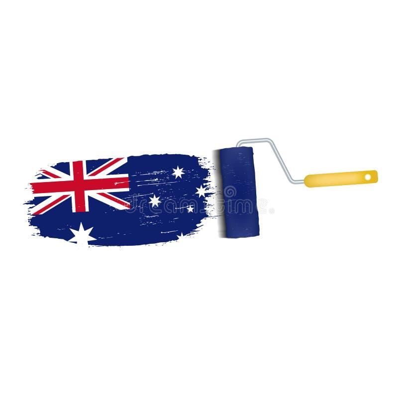 Ход щетки при изолированный национальный флаг Австралии бесплатная иллюстрация