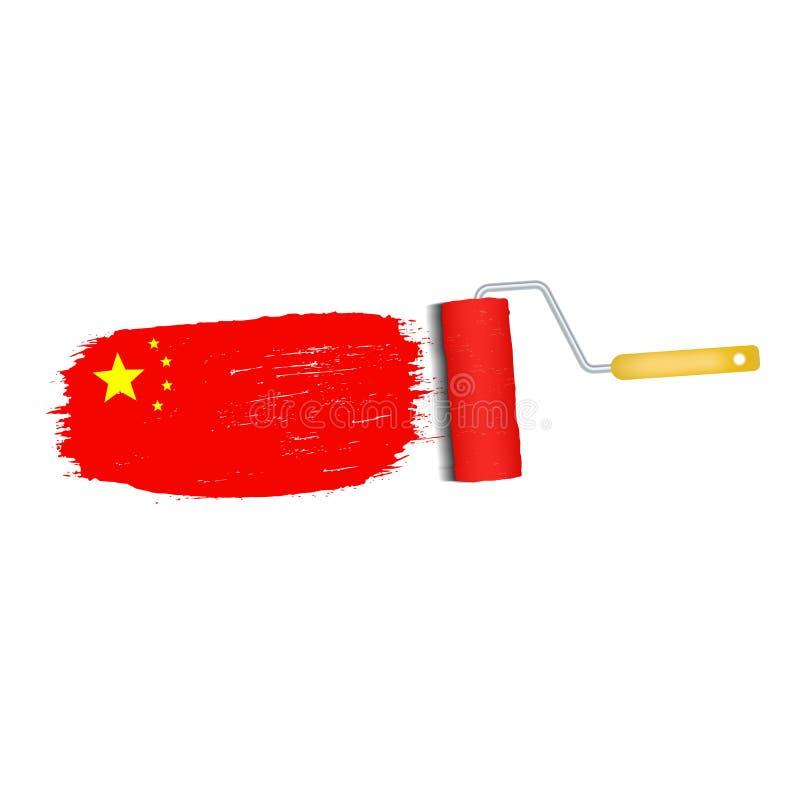 Ход щетки при изолированный национальный флаг Китая бесплатная иллюстрация