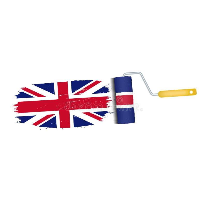 Ход щетки при национальный флаг Великобритании изолированный на белой предпосылке также вектор иллюстрации притяжки corel иллюстрация вектора