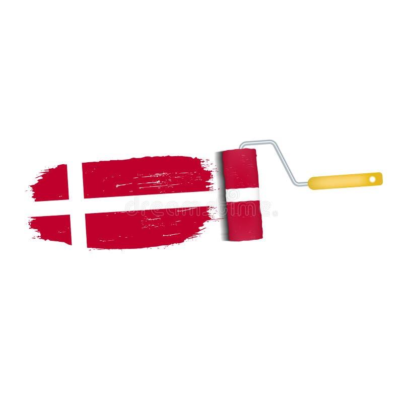 Ход щетки при национальный флаг Дании изолированный на белой предпосылке также вектор иллюстрации притяжки corel иллюстрация вектора