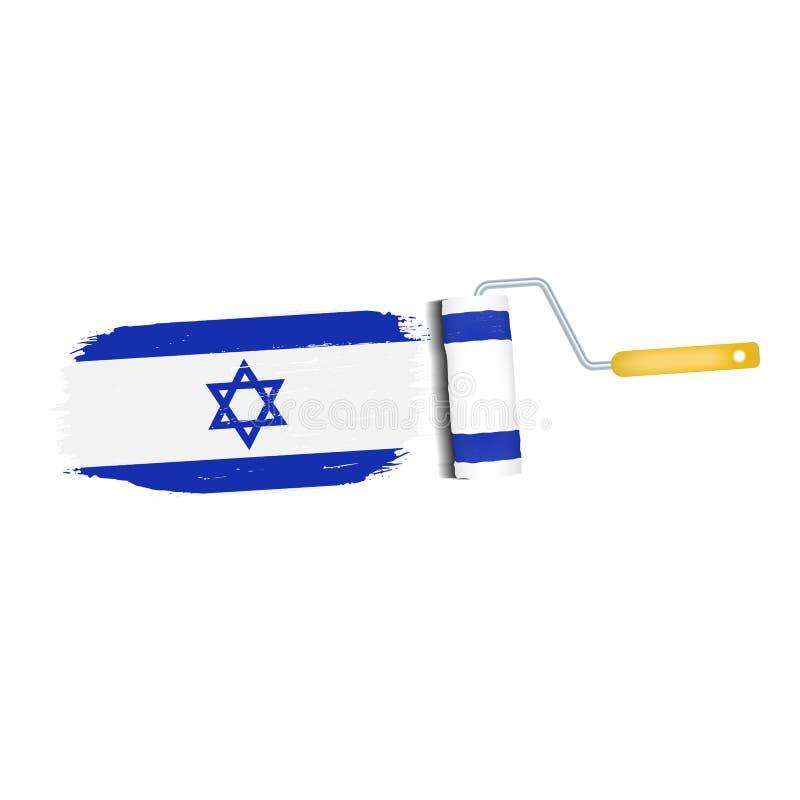 Ход щетки при национальный флаг Израиля изолированный на белой предпосылке также вектор иллюстрации притяжки corel иллюстрация вектора