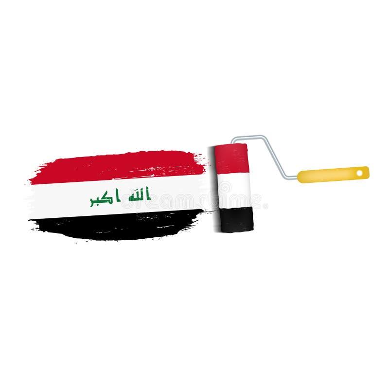 Ход щетки при национальный флаг Ирака изолированный на белой предпосылке также вектор иллюстрации притяжки corel иллюстрация штока