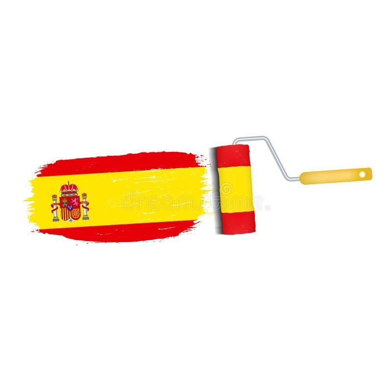Ход щетки при национальный флаг Испании изолированный на белой предпосылке также вектор иллюстрации притяжки corel иллюстрация вектора