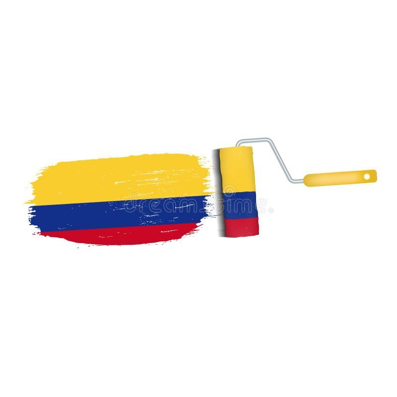 Ход щетки при национальный флаг Колумбии изолированный на белой предпосылке также вектор иллюстрации притяжки corel иллюстрация штока