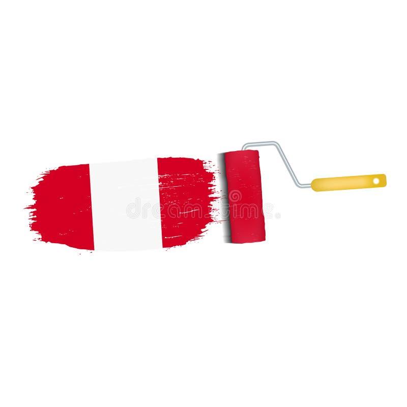 Ход щетки при национальный флаг Перу изолированный на белой предпосылке также вектор иллюстрации притяжки corel бесплатная иллюстрация
