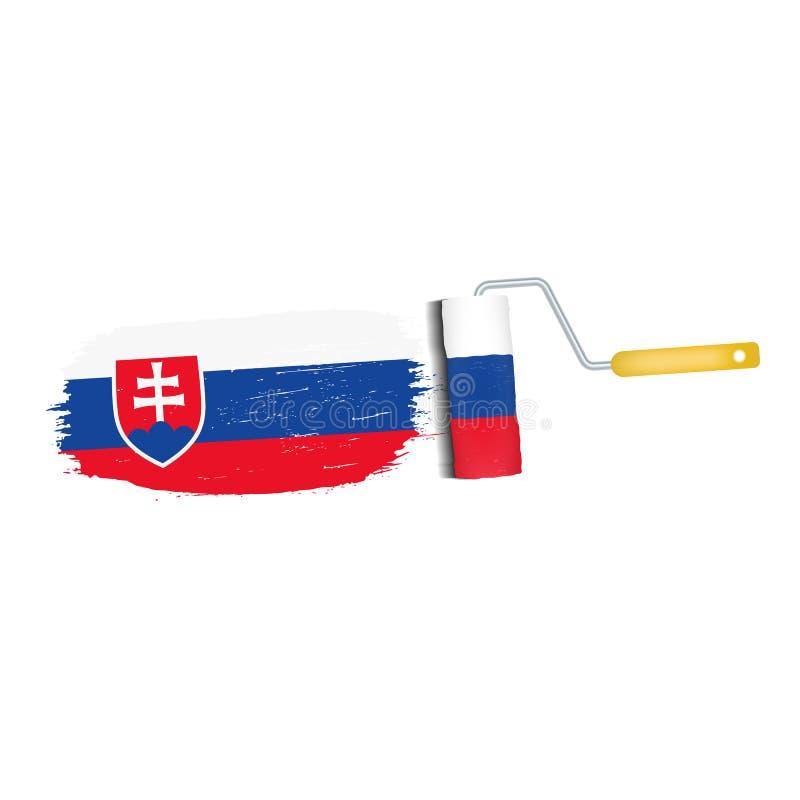 Ход щетки при национальный флаг Словакии изолированный на белой предпосылке также вектор иллюстрации притяжки corel иллюстрация штока
