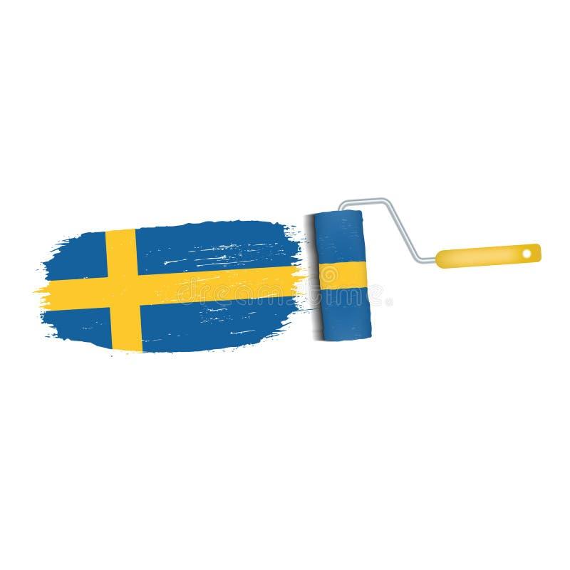 Ход щетки при национальный флаг Швеции изолированный на белой предпосылке также вектор иллюстрации притяжки corel иллюстрация штока