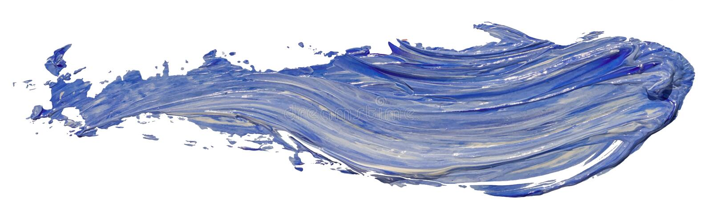 Ход щетки пятна краски текстуры сини и белого масла, стоковое фото
