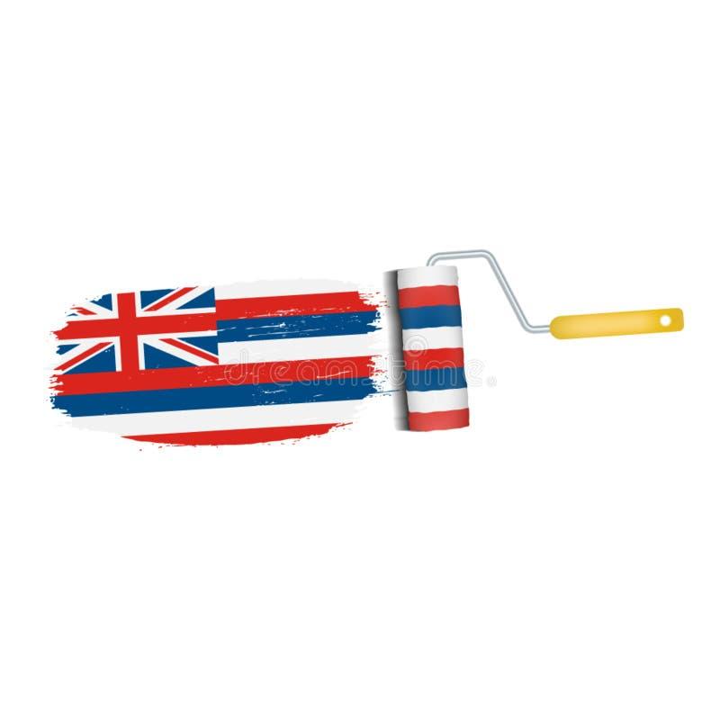 Ход щетки с национальным флагом Гаваи изолировал на белой предпосылке также вектор иллюстрации притяжки corel иллюстрация штока