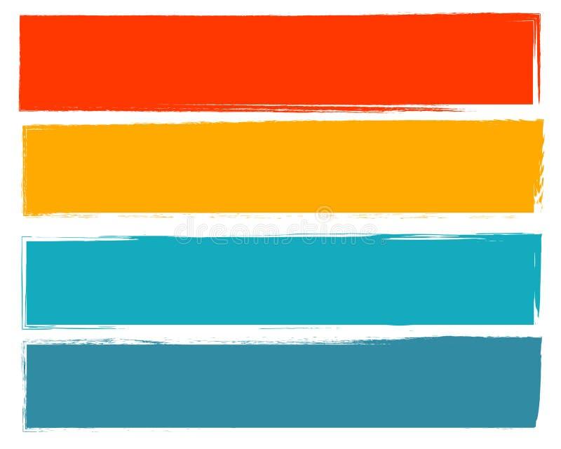 Ход щетки установленного прямоугольника рамки оранжевый желтый зеленый голубой иллюстрация вектора