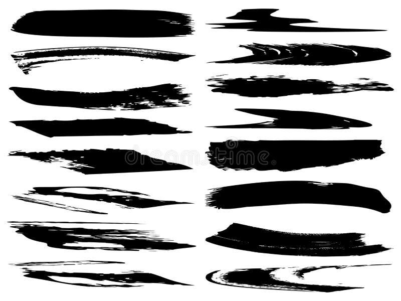 Ход щетки художественной grungy черной краски вектора ручной работы бесплатная иллюстрация