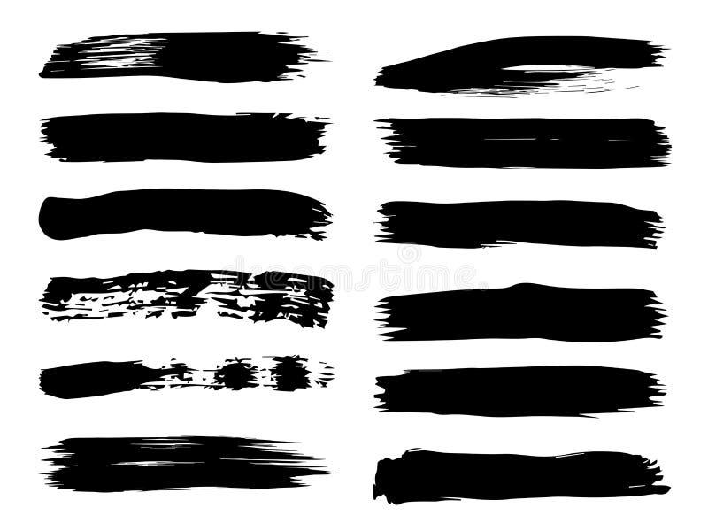 Ход щетки художественной grungy черной краски ручной работы бесплатная иллюстрация