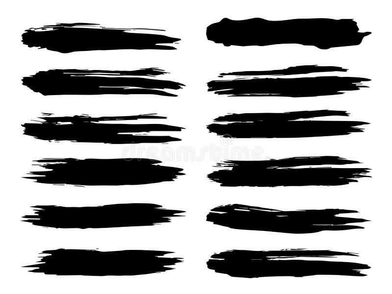 Ход щетки художественной grungy черной краски ручной работы иллюстрация штока