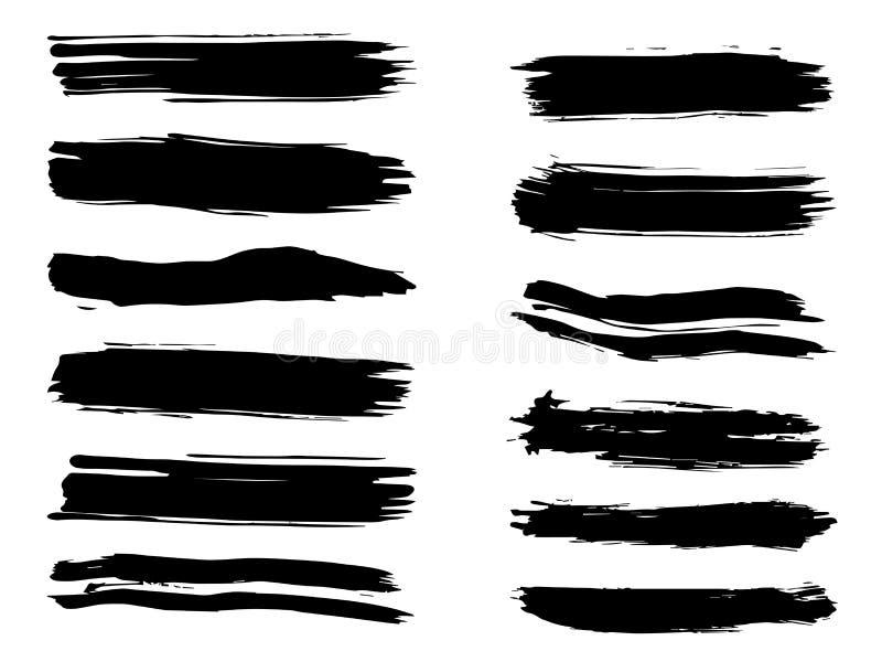 Ход щетки художественной grungy черной краски ручной работы иллюстрация вектора