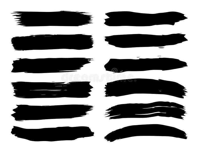 Ход щетки художественной grungy черной краски ручной работы творческий иллюстрация вектора