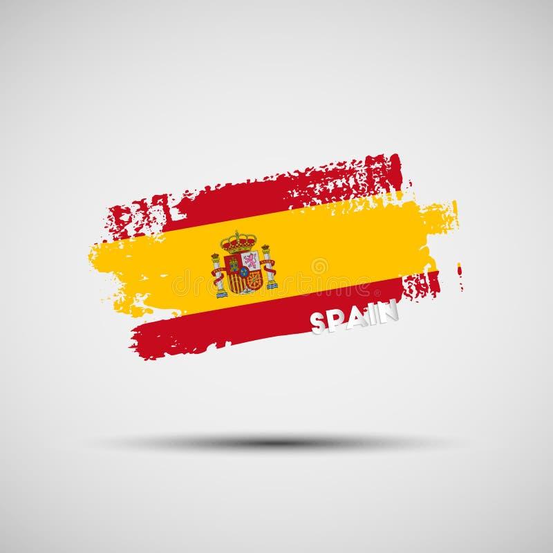 Ход щетки Grunge с испанскими цветами национального флага бесплатная иллюстрация