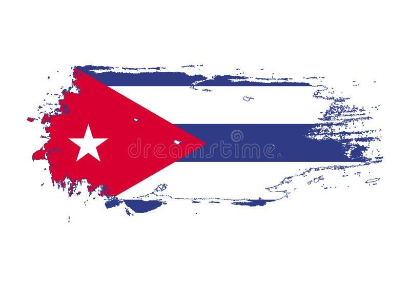 Ход щетки Grunge с национальным флагом Кубы Флаг картины акварели Символ, плакат, знамя национального флага вектор иллюстрация штока