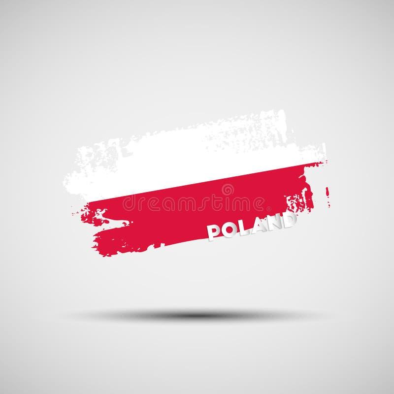 Ход щетки Grunge с польскими цветами национального флага иллюстрация штока