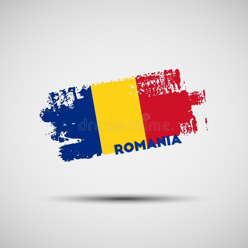 Ход щетки Grunge с румынскими цветами национального флага иллюстрация вектора