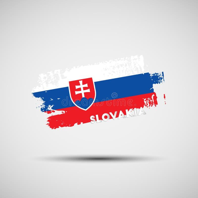 Ход щетки Grunge с Slovakian цветами национального флага иллюстрация штока