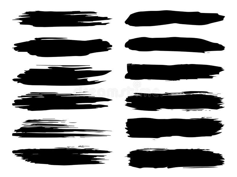 Ход щетки Grungy черной краски ручной работы иллюстрация вектора