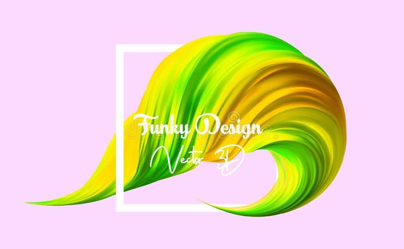 ход щетки yelloow 3d реалистический Краска цвета вектора конспекта цифровая для предпосылки плаката Современная красочная подача иллюстрация штока