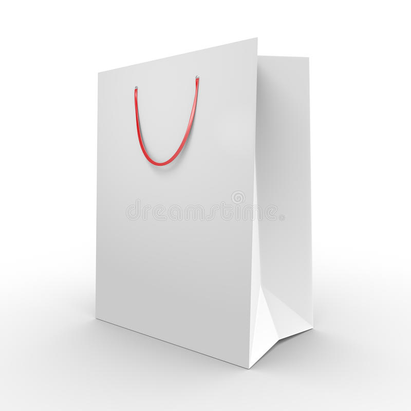 Хозяйственная сумка или продуктовая сумка белой бумаги с рукоятками для переноски бесплатная иллюстрация
