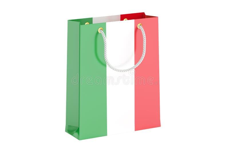 Хозяйственная сумка с итальянским флагом, переводом 3D бесплатная иллюстрация