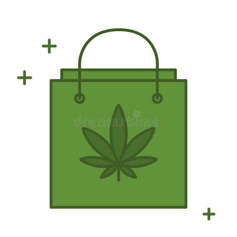 Хозяйственная сумка с лист марихуаны иллюстрация штока